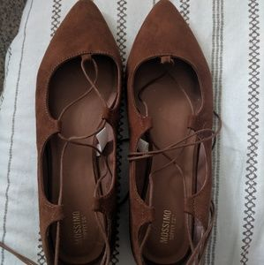 Target mossimo brown ballet lace up flat